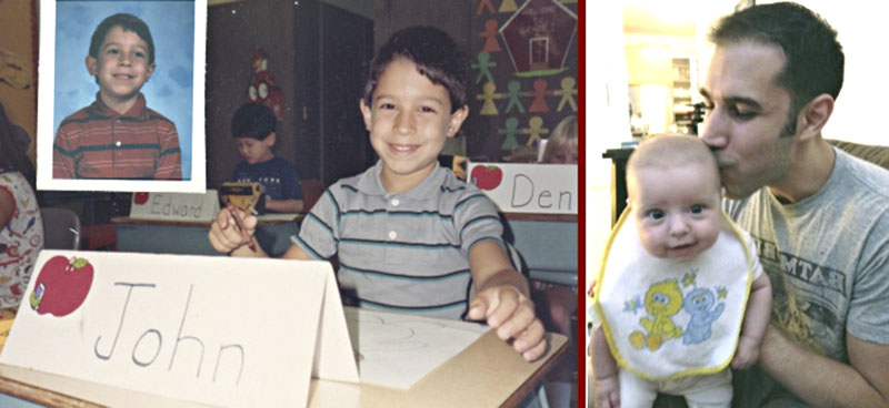 Left: Sazaklis as a first grader in Mary Masterson's class at Fork Lane Elementary School in Hicksville. Right: With daughter Athena in his NYC apartment.