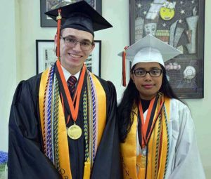 Valedictorian Matthew Cimino and Salutatorian Rujuta Desai are ready for the ceremony.