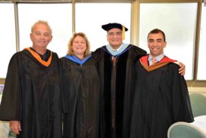 Hicksville Public School District Board of Education President Phil Heckler, secretary Brenda Judson, Superintendent of Schools Dr. Carl Bonuso and board trustee Michael Beneventano prior to the Class of 2016 graduation.
