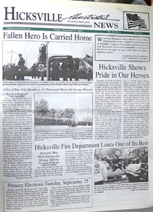 The front page from the Hicksville Illustrated News' Sept. 21 edition refelcted those turbulent days after the attacks and made note of the two fallen members of the Hicksville Fire Department.