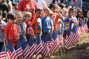 Many Dutch Lane students wore red, white and blue, and shirts featuring the American flag during Constitution Day. (Photo courtesy of the Hicksville School District)