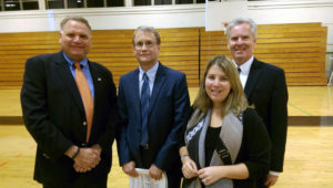 Participating at the Hicksville Downtown Revitalization meeting were, from left: Town of Oyster Bay (TOB) Councilman Anthony D. Macagnone; John Ellsworth, Director of Planning and Environmental Services for Cashin, Spinelli, & Ferretti; TOB Councilwoman Rebecca M. Alesia; and TOB Deputy Commissioner of the Department of Economic Development James McCaffrey.
