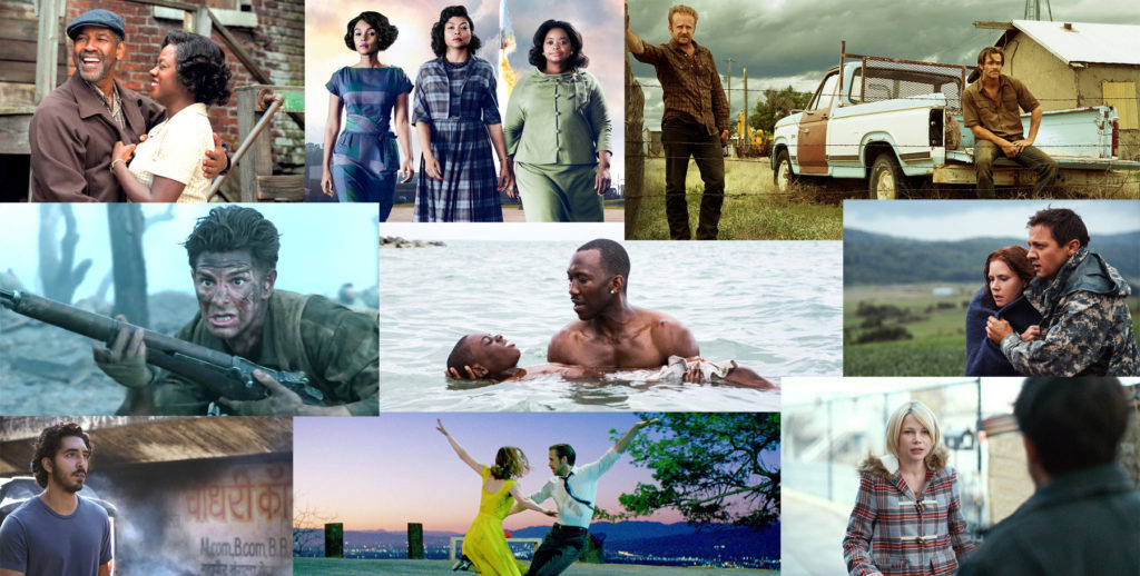 Nine films have been nominated for best picture this year — Fences, Hidden Figures, Hell or High Water, Hacksaw Ridge, Moonlight, Arrival, Lion, La La Land and Manchester By The Sea.