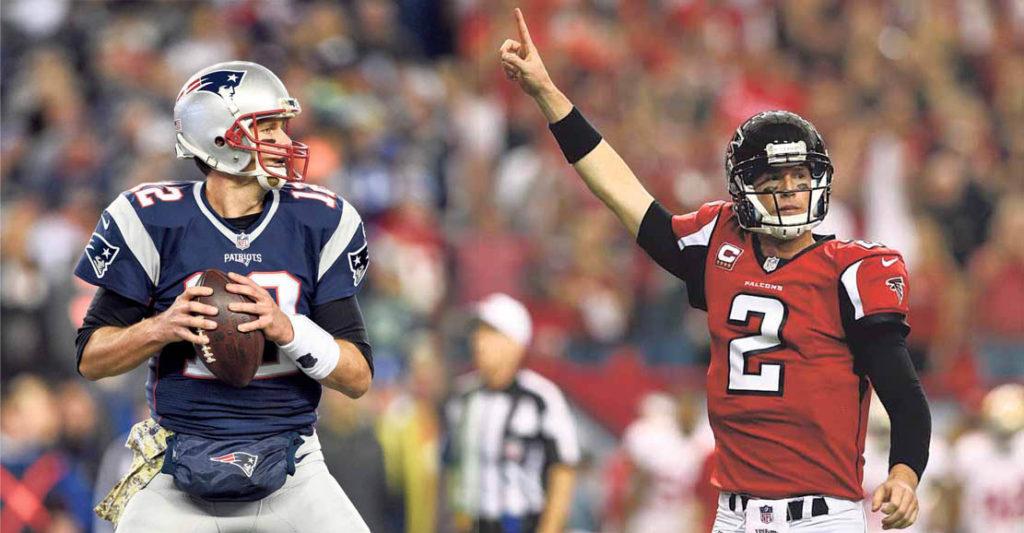 Tom Brady and Matt Ryan will face off at Super Bowl LI. (Tom Brady photo courtesy of the New England Patriots/Jim Mahoney; Matt Ryan photo source: Facebook)